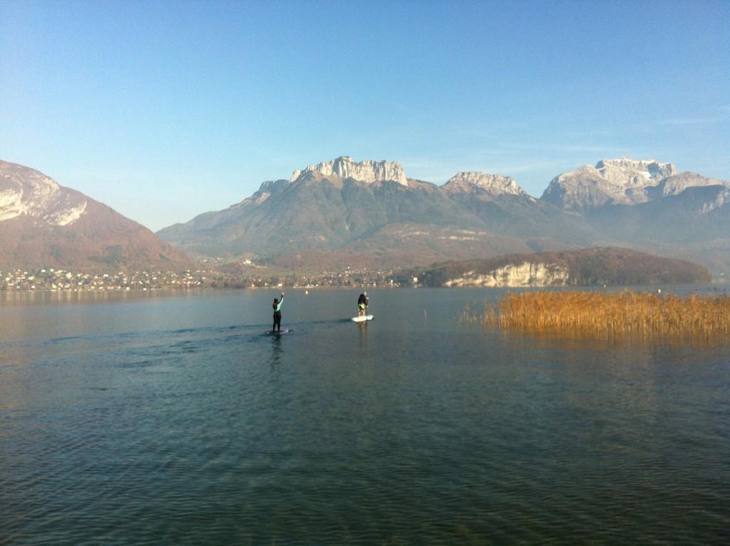 paddle en novembre sur le lac d'Annecy